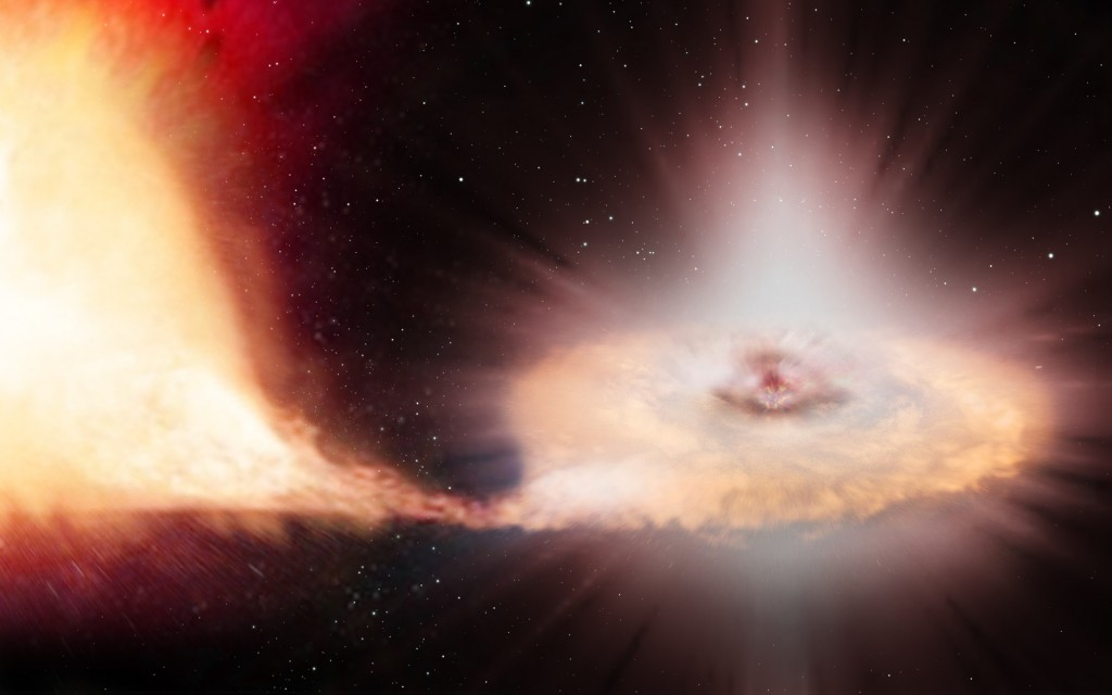 An artist's impression of a Type Ia supernova – the explosion of a white dwarf locked in a binary system with a companion star. While other types of supernovas are the explosive demises of massive stars, several times more massive than the Sun, Type Ia supernovas are the end product of their less massive counterparts. Low-mass stars, with masses similar to the Sun's, end their lives gently, puffing up their outer layers and leaving behind a compact white dwarf. Due to their high density, white dwarfs can exert an intense gravitational pull on a nearby companion star, accreting mass from it until the white dwarf reaches a critical mass that then sparks a violent explosion. Credit: ESA/ATG medialab/C. Carreau