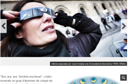 """""""Una casualitat còsmica i meteorològica permet veure durant uns instants l'eclipsi a Barcelona"""" (ara.cat, 20 Mar 2015)"""