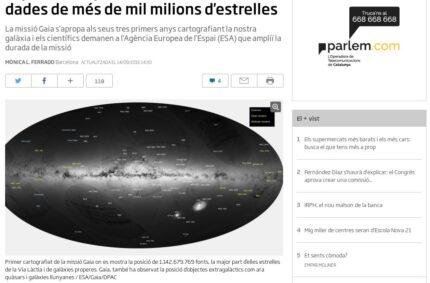 """""""El primer mapa de la Via Làctia recull dades de més de mil milions d'estrelles"""" (ara.cat, 14 Set 2016)"""
