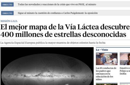 """""""El mejor mapa de la Vía Láctea descubre 400 millones de estrellas desconocidas"""" (La Vanguardia, 14 Set 2016)"""