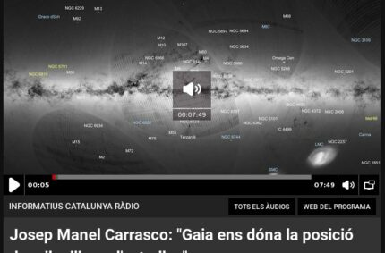 """Josep Manel Carrasco: """"Gaia ens dóna la posició de mil milions d'estrelles"""" (Informatius de Catalunya Ràdio, 14 Set 2016)"""