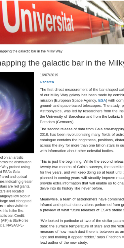 Gaia starts mapping the galactic bar in the Milky Way (Notícies UB, 16/07/2019)